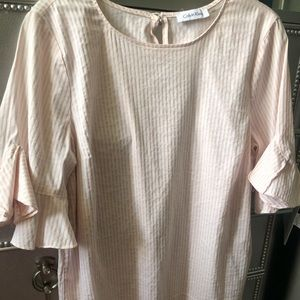 Baby pink striped blouse with ruffled end sleeve